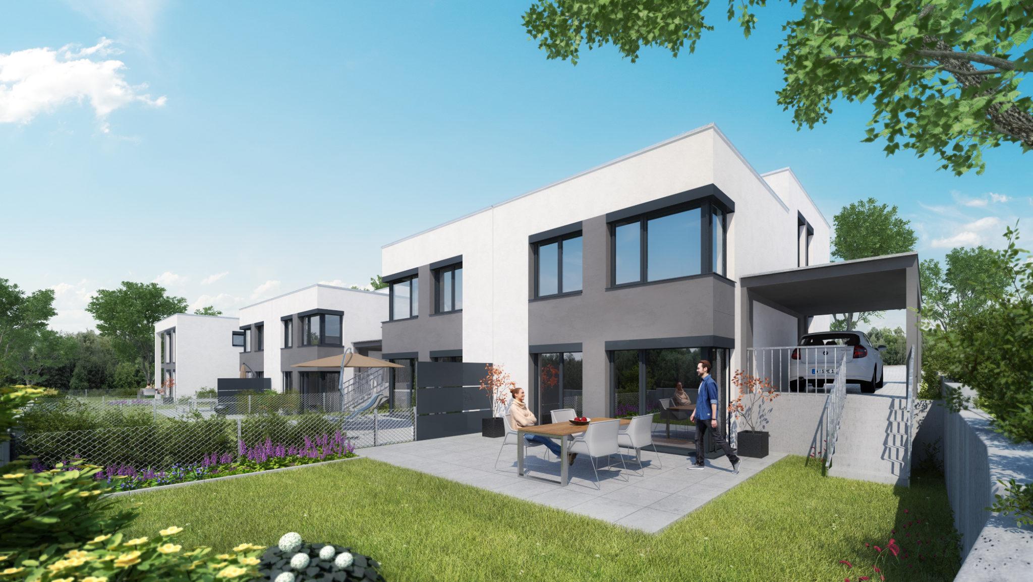 Illustrative Darstellung der Doppelhaushälften in Fürth Hardhöhe
